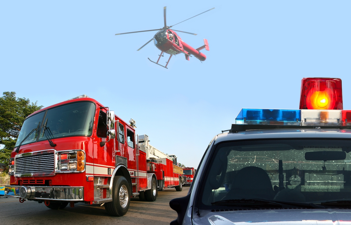 Fire Truck, Police and Helicopter